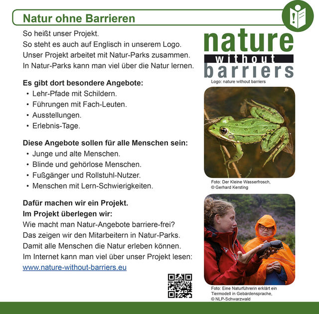 "This picture is the first page of our information leaflet ""Nature without Barriers"". This page is written in Easy-to-read."