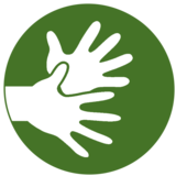 This pictogram shows two hands and stands in the project for needs of deaf people. It symbolises sign language.