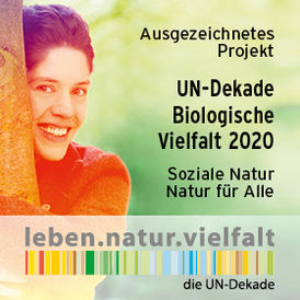 "This is the logo of the special competition ""Social Nature - Nature for All"". The UN Decade thus honours exemplary projects that combine nature and social issues. It shows a smiling woman hugging a tree."