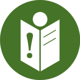 This pictogram shows a person with a book. An exclamation mark can be seen on the book. In the project, it stands for the needs of people with learning difficulties.